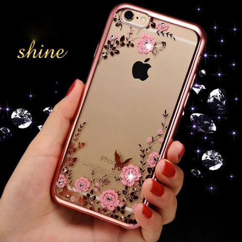 Luxury Secret garden Flowers Coque Phone Cases Fundas For iPhone 7 7 plus 6 6s 6plus 5 5s SE Women Plating Cover Case