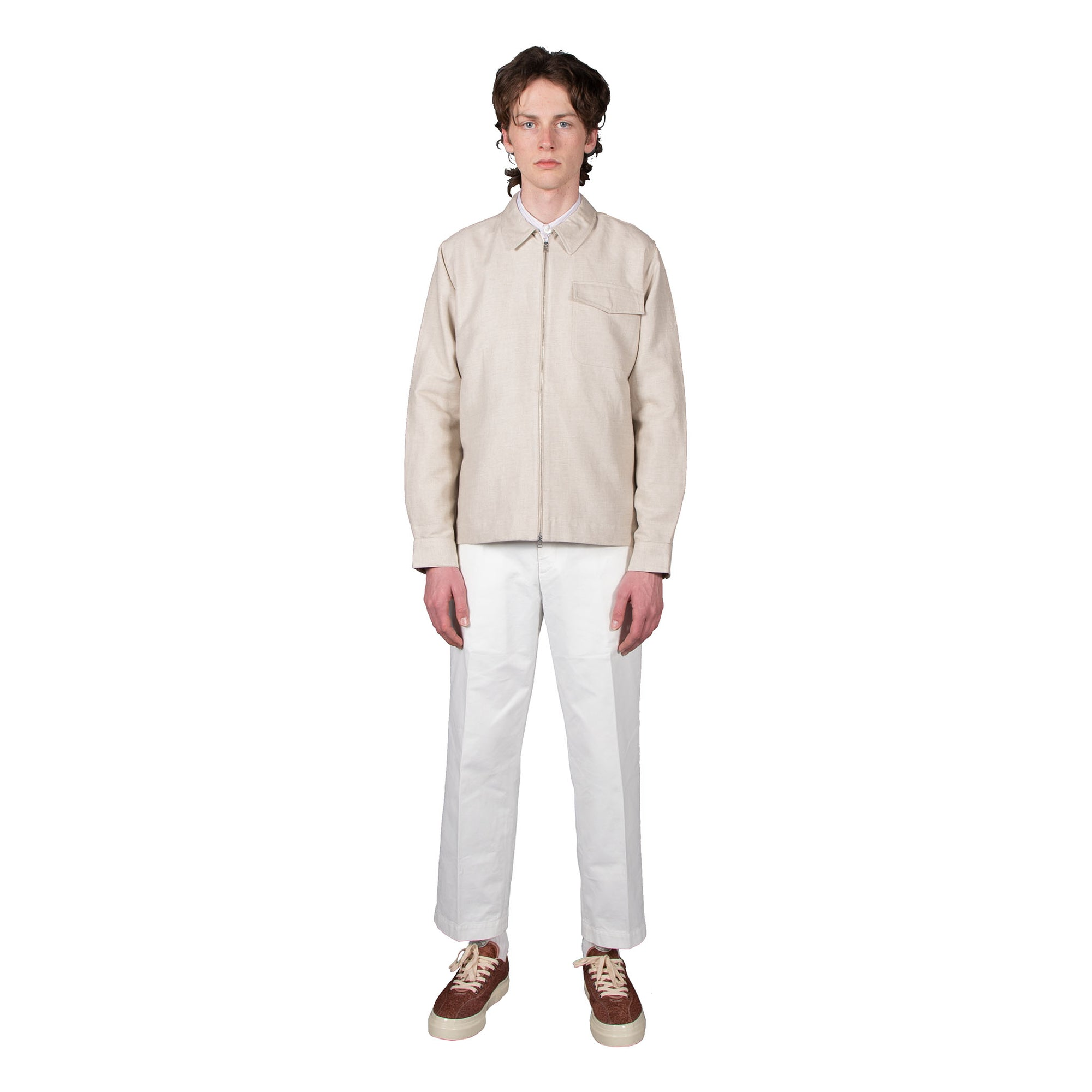 Shop Schnayderman's shirt jacket online zipshirt cotton linen twill sand