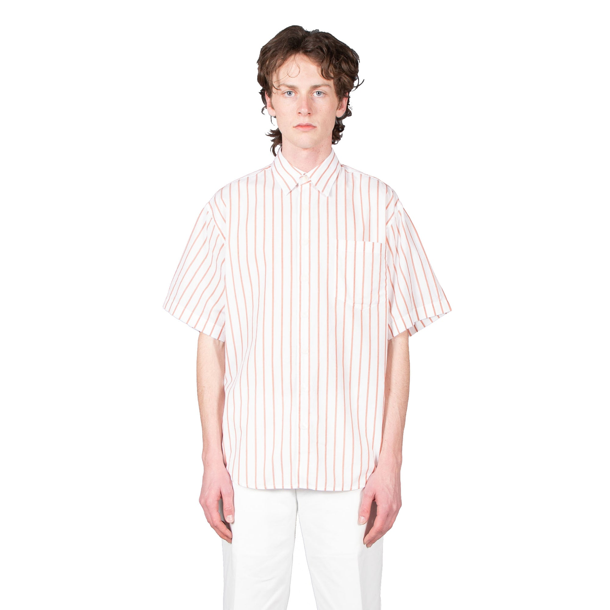 Shop Schnayderman's shirt online oversized cotton silk stripe terracotta white