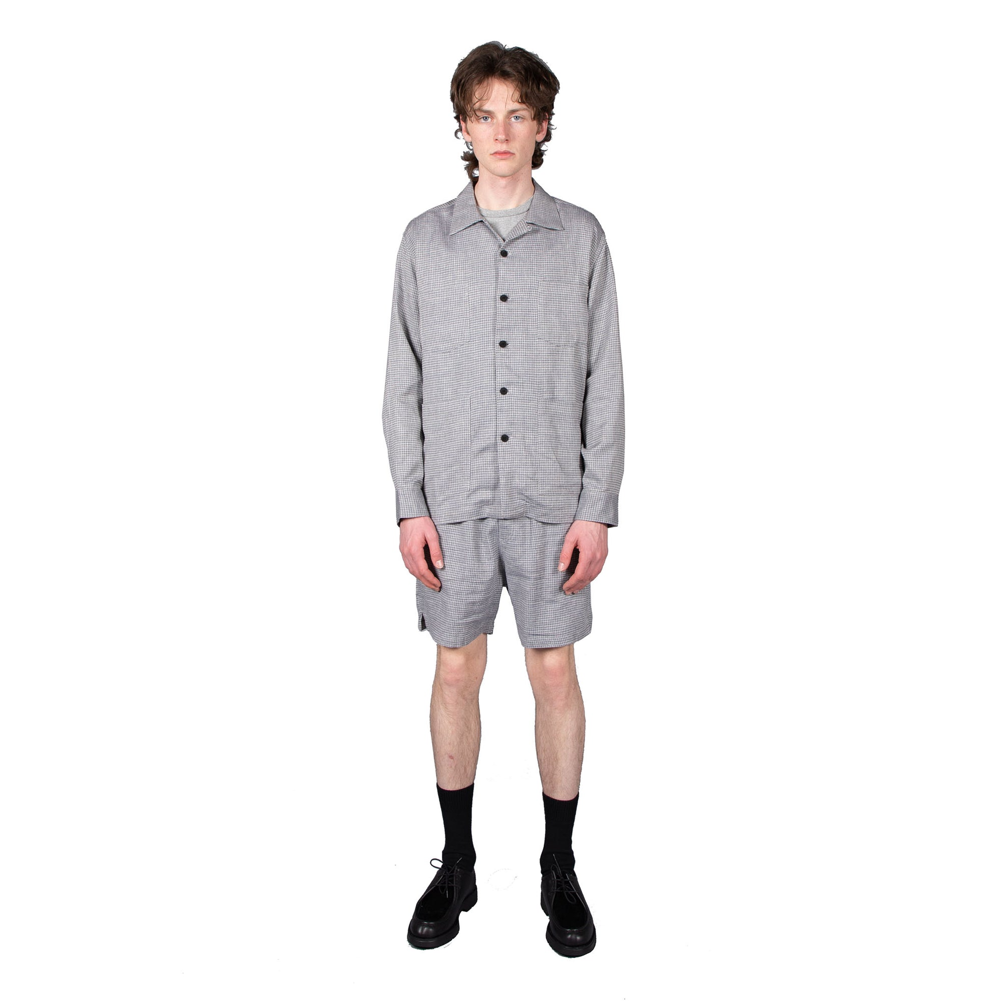 Shop Schnayderman's shorts online Melange shorts check blue grey