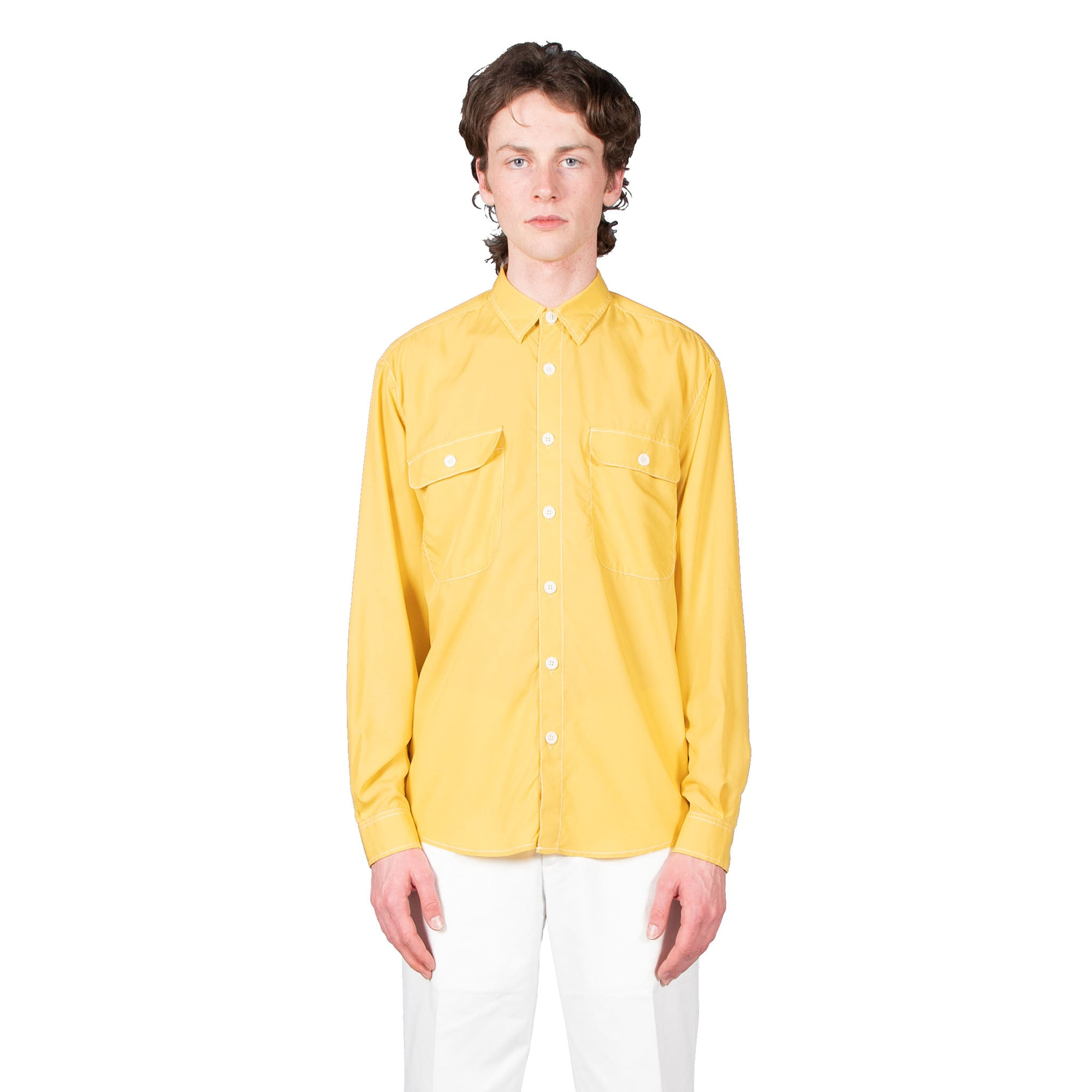Shop Schnayderman's shirt online boxy tencel yellow