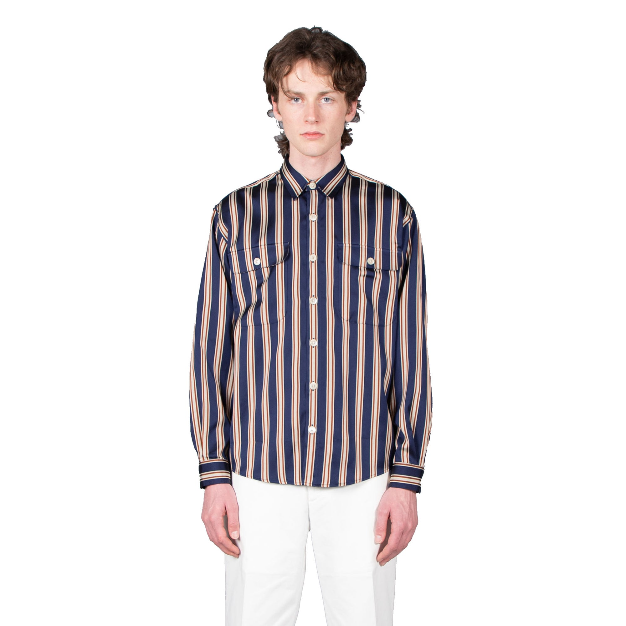 Shop Schnayderman's shirt online boxy stripe navy rust sand