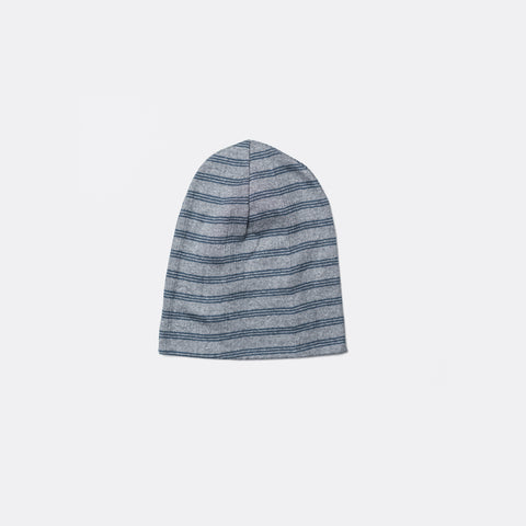 Toque Beanie Cap - Charcoal/Navy Triple Stripe