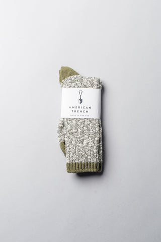 Slub Crew Socks - Olive Slub with Olive