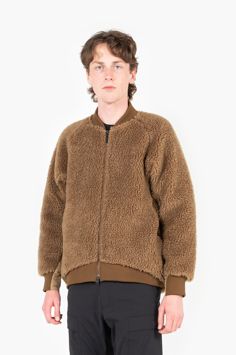 Goldwin boa fleece blouson tobacco brown
