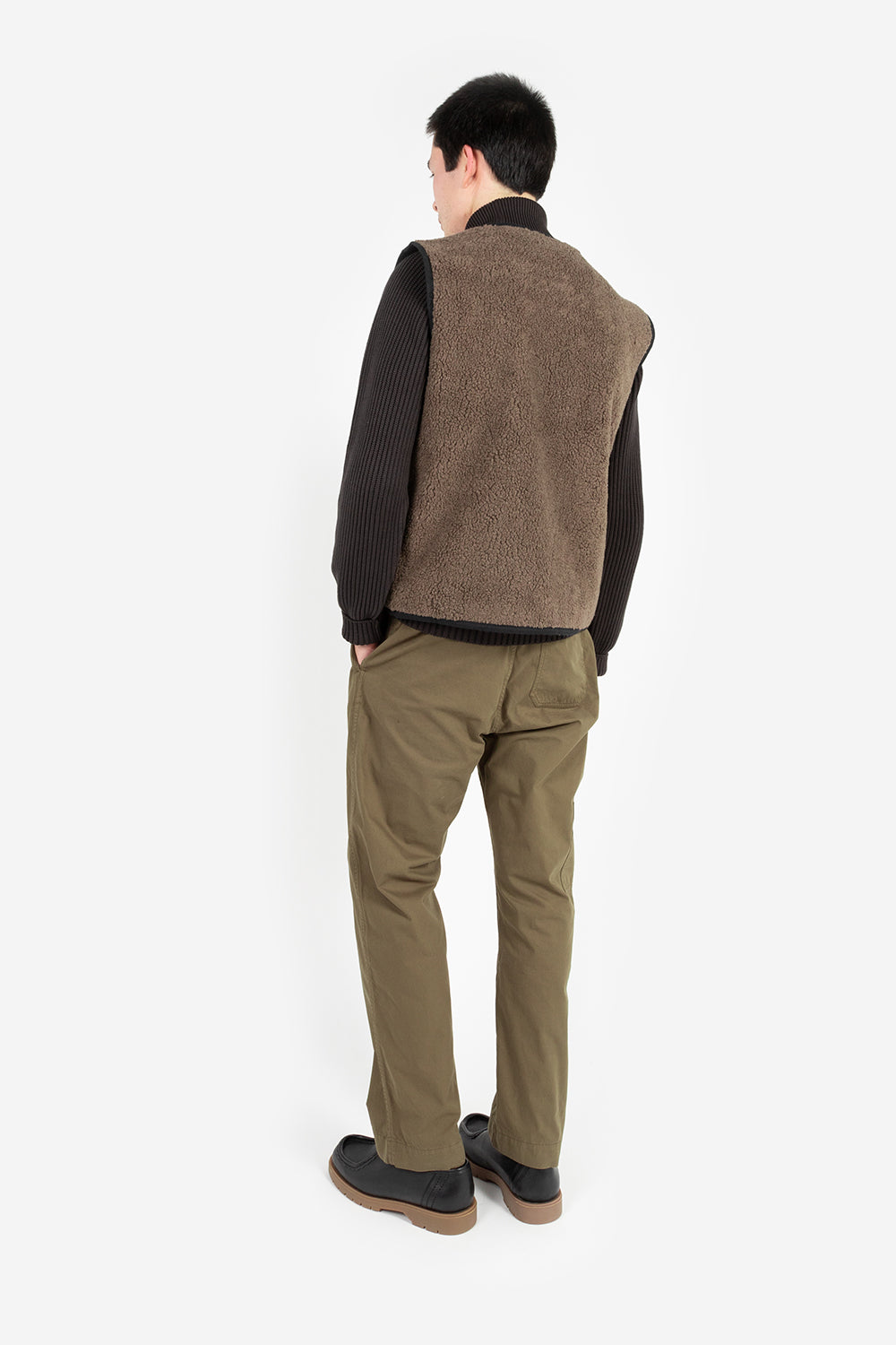 Knickerbocker reverse zip pile vest heather brown pile black