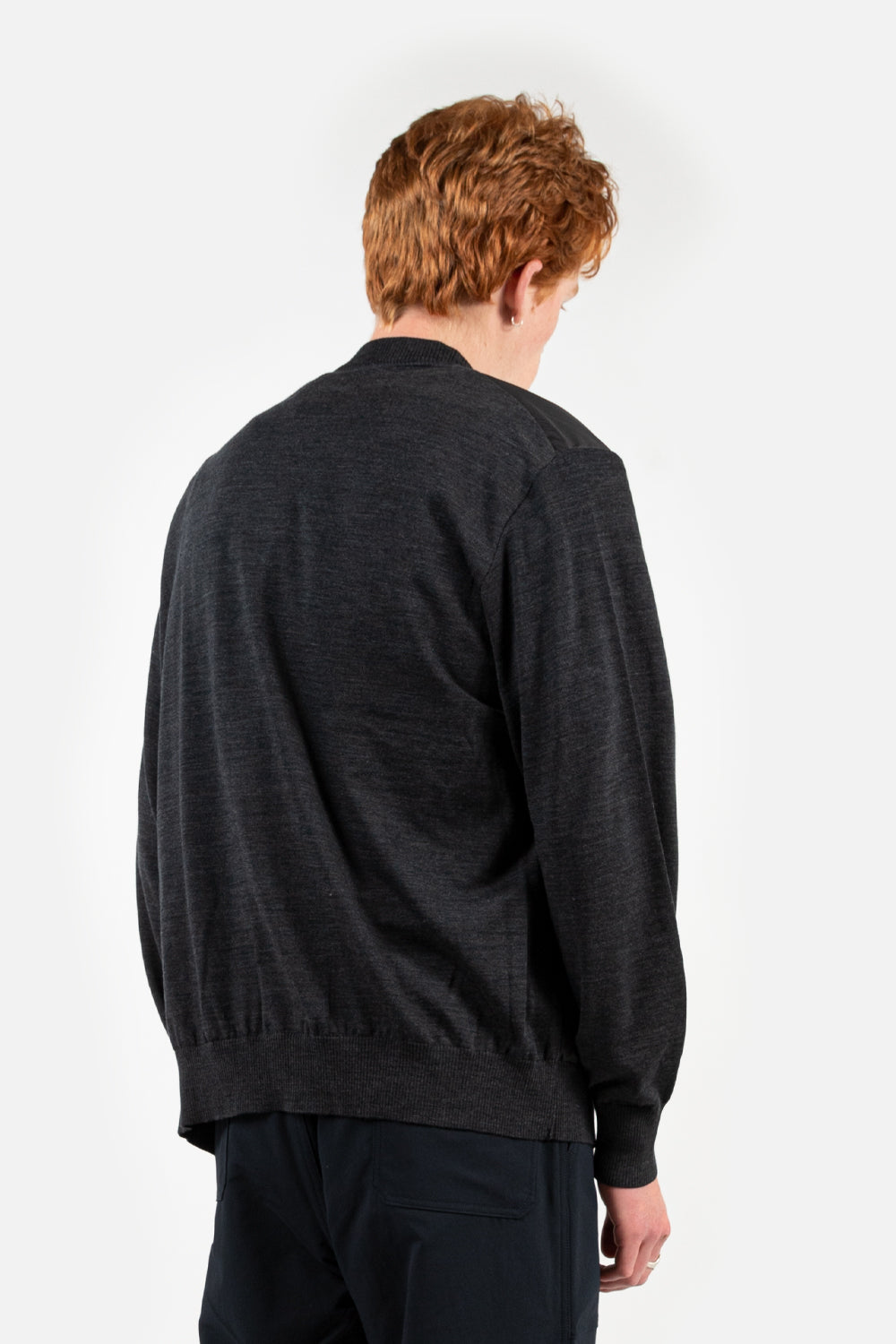 nanamica hybrid cardigan in charcoal