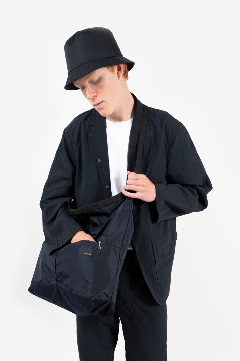 nanamica utility shoulder bag in navy
