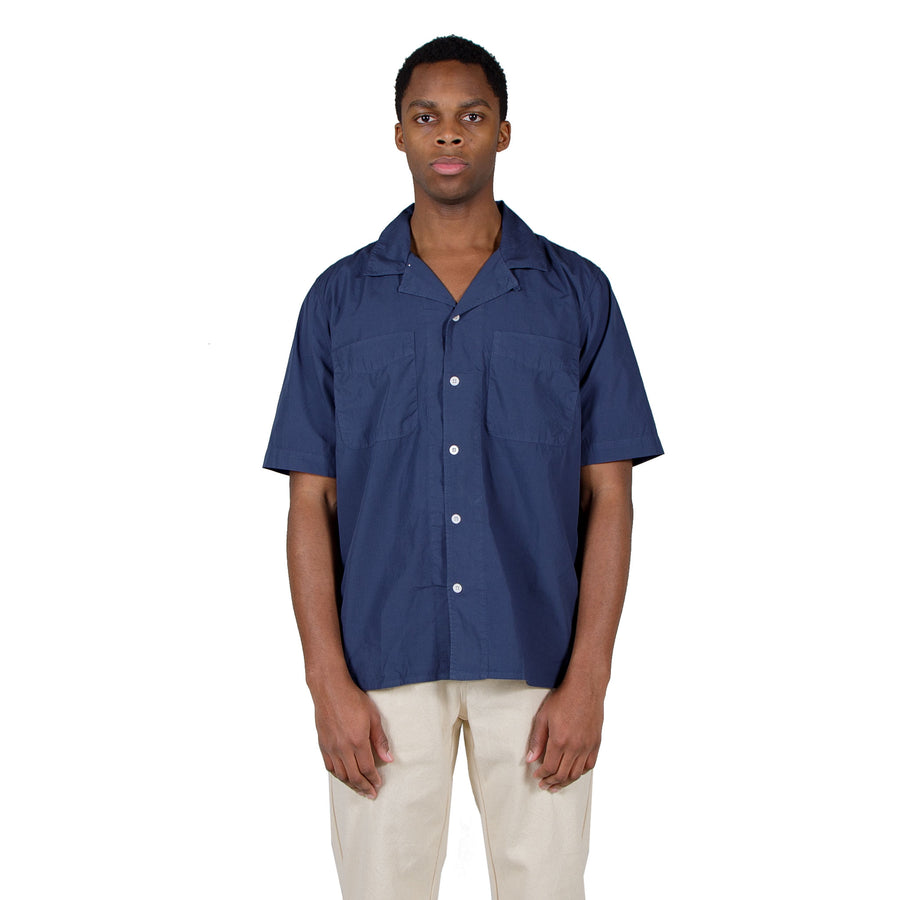 Albam SS Revere Collar Shirt in Navy