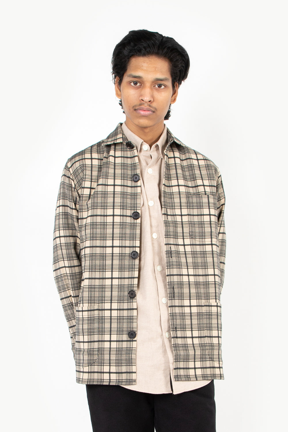 schanyderman's overshirt wool mix check black kakhi