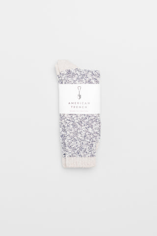 Slub Crew Socks - Navy Slub with Tan