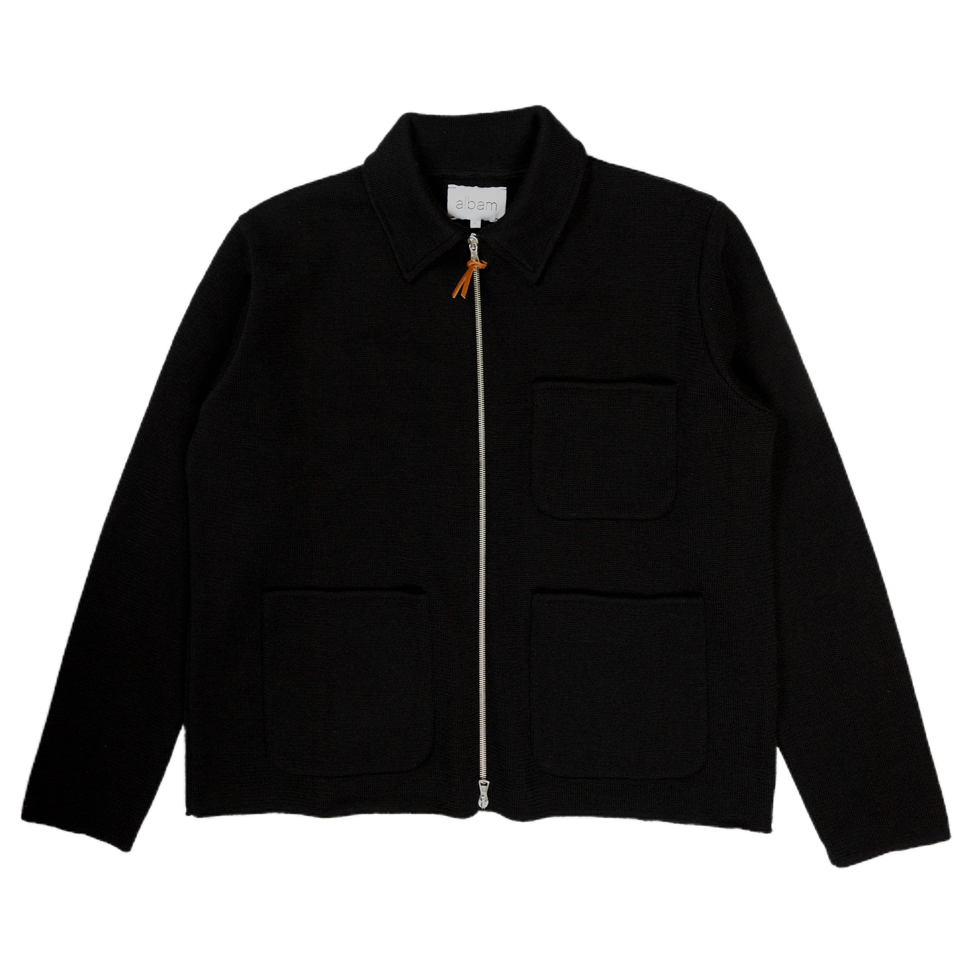 Albam Milano Zip Through Work Jacket Outerwear Sweater Black Front