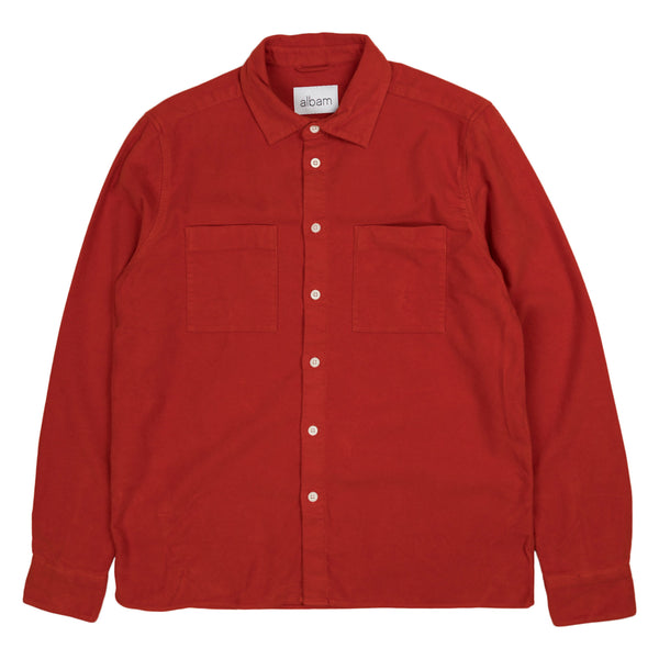 Albam Nash Moleskin Shirt in Burnt Orange