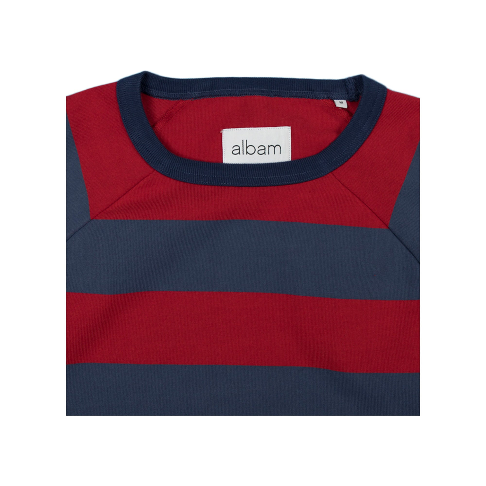 Albam Raglan Striped Sweatshirt in Red and Navy