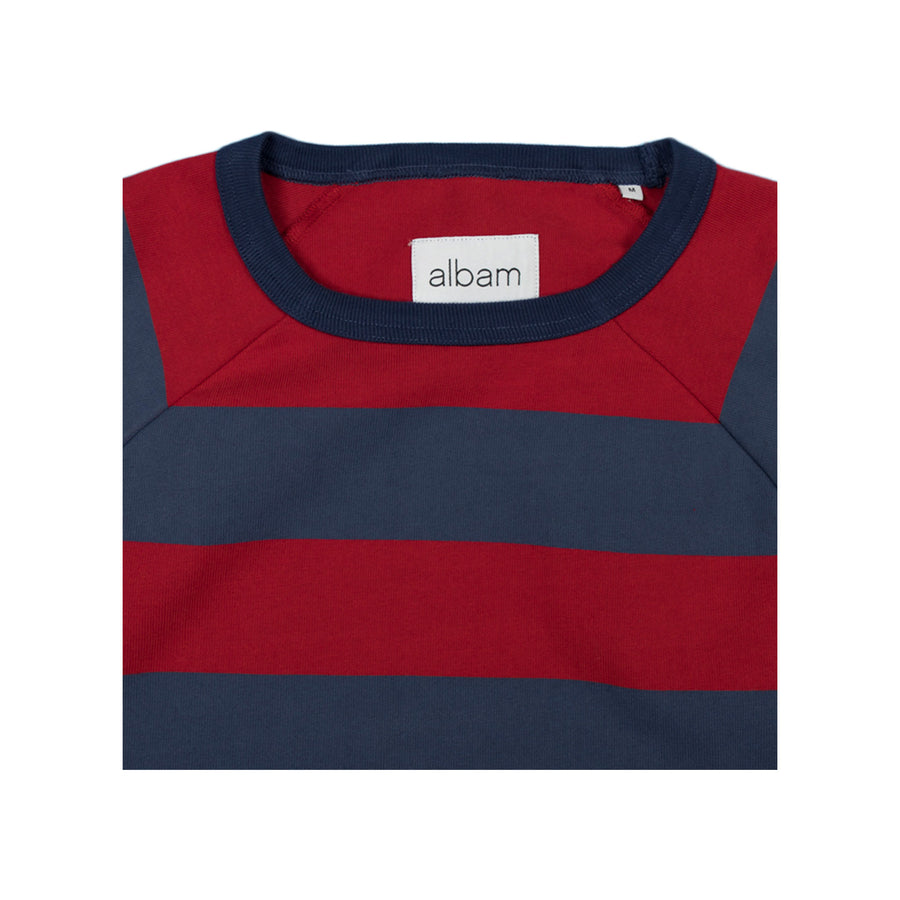 Raglan Striped Sweatshirt - Red/Navy
