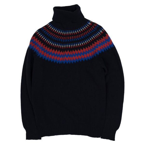 Albam Seamless Yoke Fair Isle Sweater in Navy