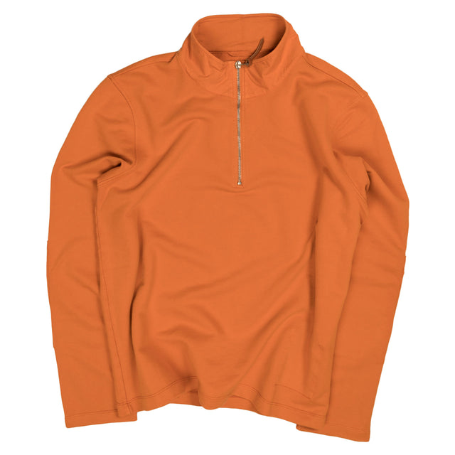 Albam Zipped Jersey Pullover in Burnt Orange