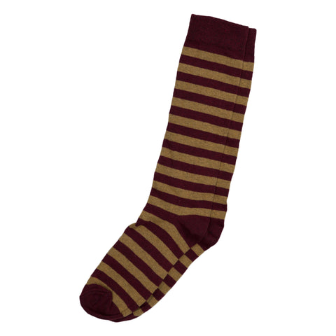 Rugby Stripe Socks - Burgundy/Ochre
