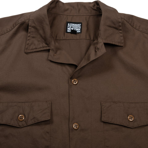 August Fifteenth Detroit Shirt Brown Collar Detail