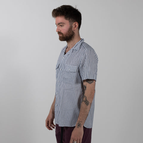 August Fifteenth Detroit Shirt Ticking Stripe Blue Style Side