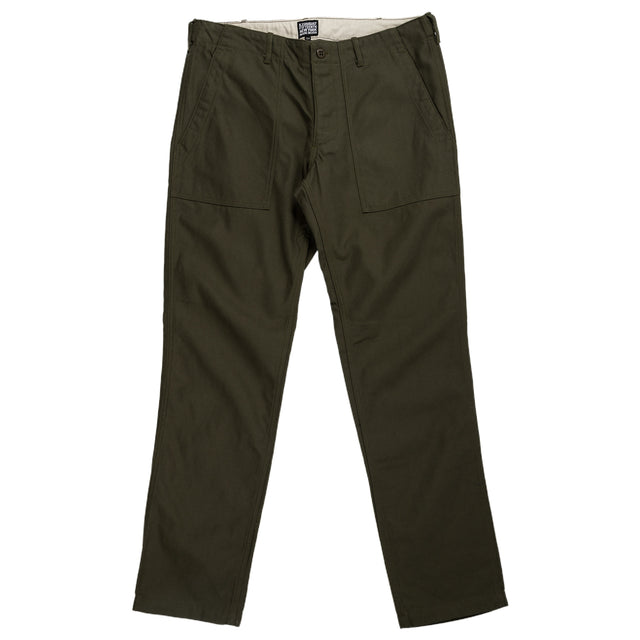 August Fifteenth Fatigue Trousers Back Twill Olive Front