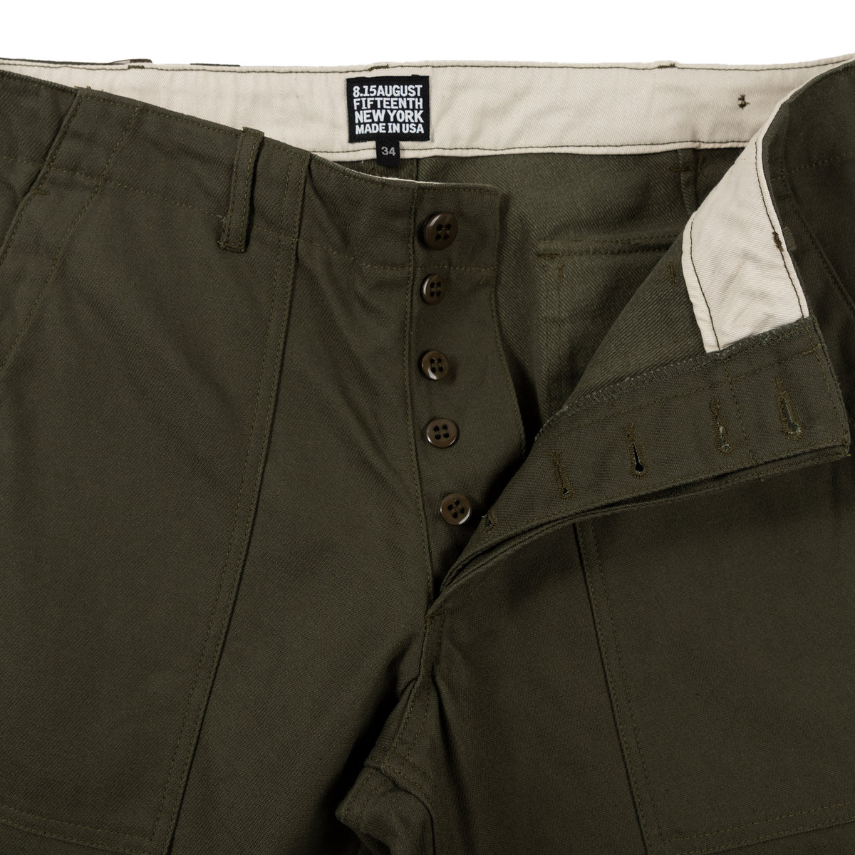 August Fifteenth Fatigue Trousers Back Twill Olive Detail