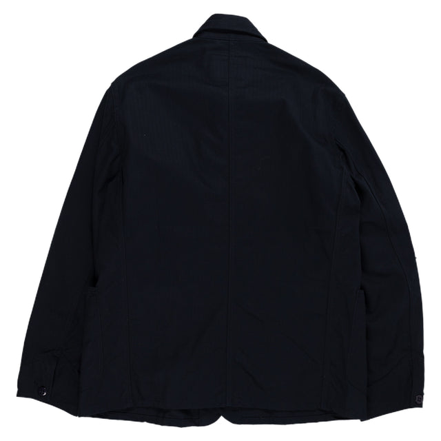August Fifteenth Industrial Coverall Jacket Herringbone Midnight Navy Back