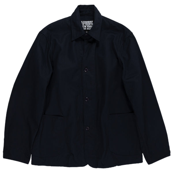 August Fifteenth Industrial Coverall Jacket Herringbone Midnight Navy Front