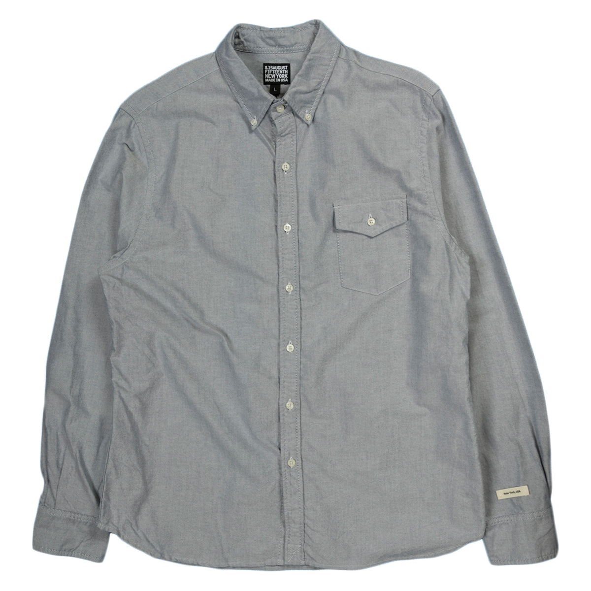 August Fifteenth Oxford Long Sleeve in Grey
