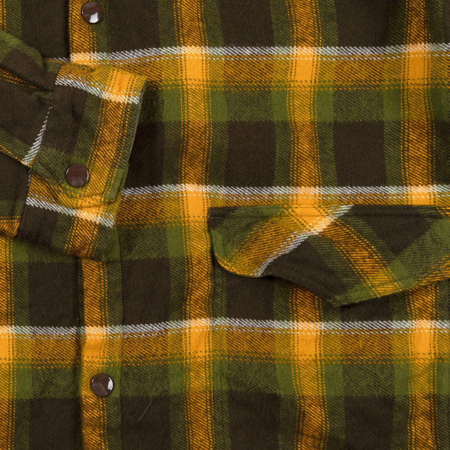 August Fifteenth Vermont Jacket Plaid Green Brown Yellow Cuff