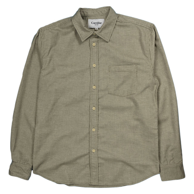 Corridor Brushed Hickory Stripe Shirt in Green