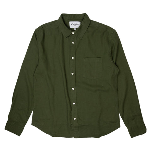 Corridor Linen Long Sleeve Shirt in Olive