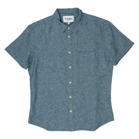 corridor linen summer chambray short sleeve blue