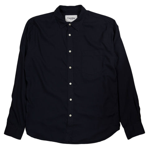 Wool Tencel Blend Shirt - Navy