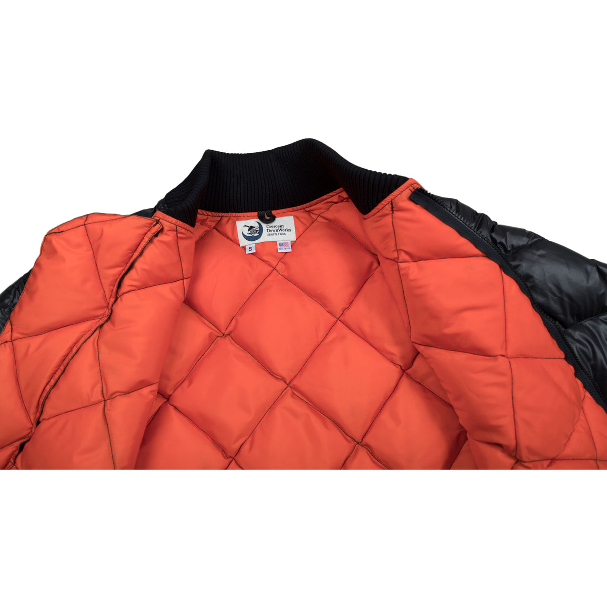 Crescent Down Works Diagonal Quilt Jacket Black