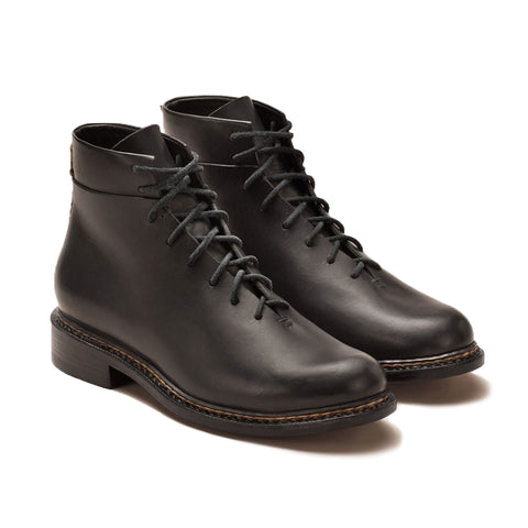 Braided Lace-Up Boots  - Black