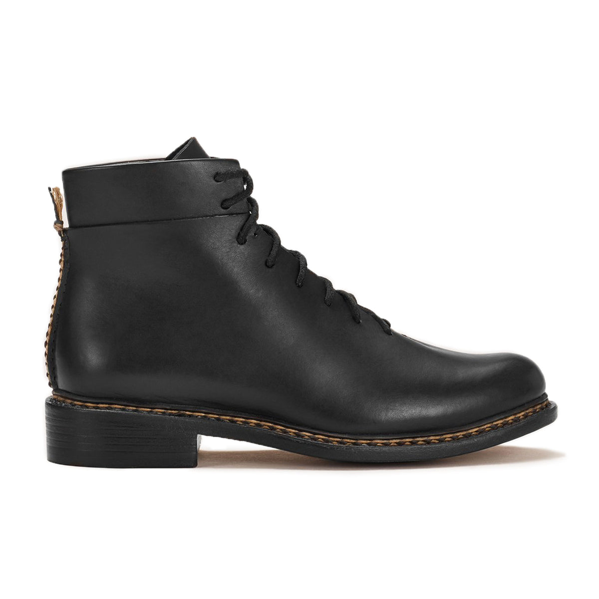 FEIT Braided Lace-Up Boots Footwear Shoes Leather Black Side