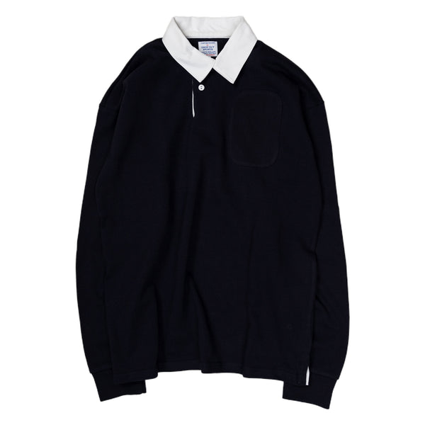 Garbstore Drop Out Sport Rugby Shirt in Navy