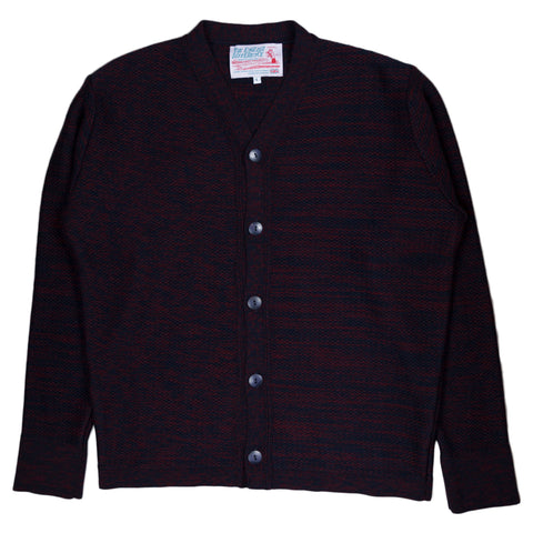 Garbstore The English Difference Reverse Cardigan in Navy/Red