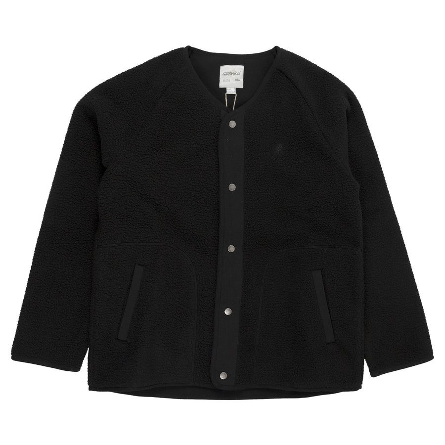 Gramicci Boa Fleece Jacket in Black outer wear warm front