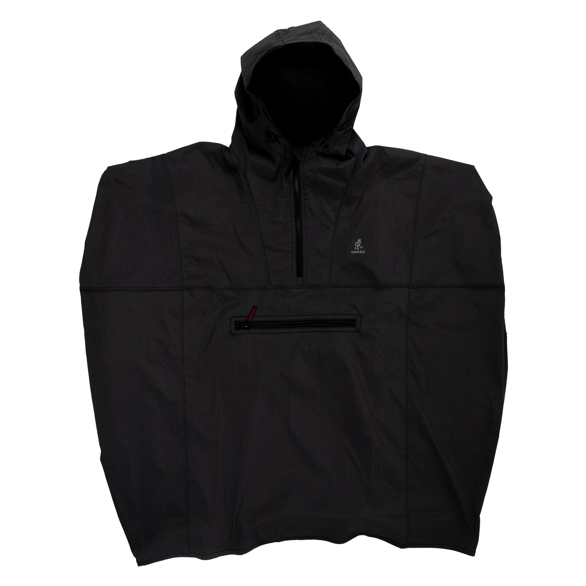 gramicci japan Rainier Cordura Poncho Black outdoor rain gear front