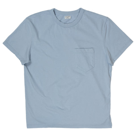 homespun dads pocket tee in washed blue