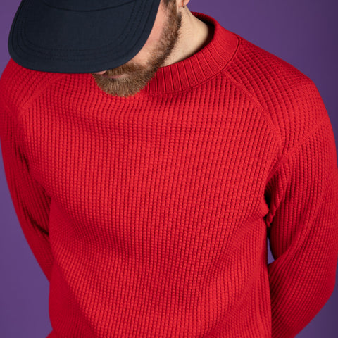 Jackman Waffle Midneck Jersey in Red