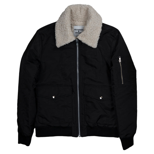 Aviator Bomber - Black with Cream Collar