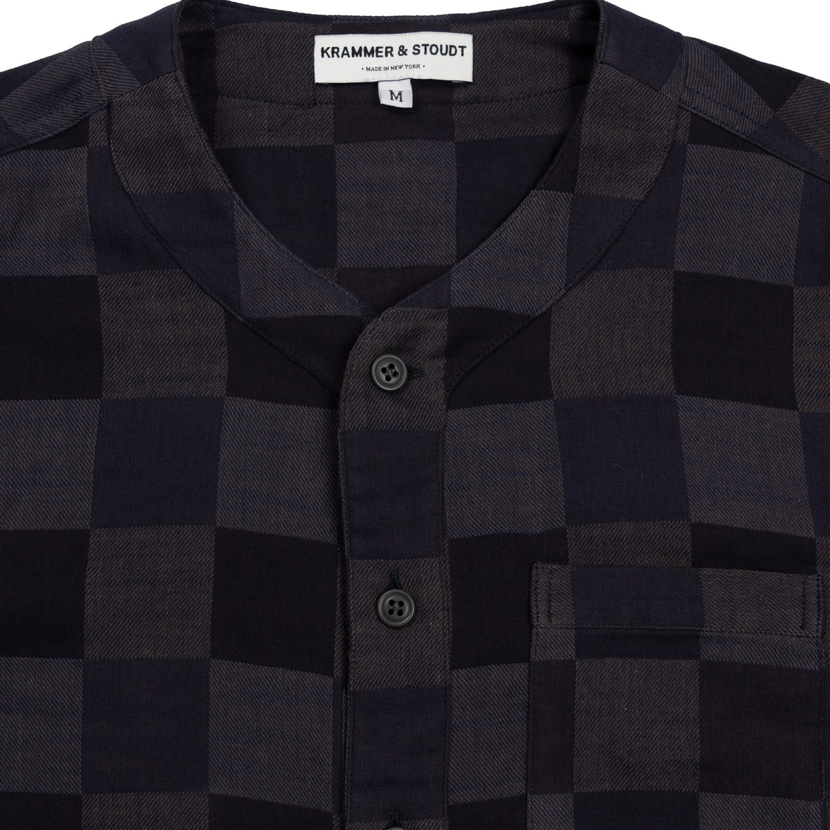 Krammer and Stoudt Baseball Shirt Black Navy Checkers Collar Detail
