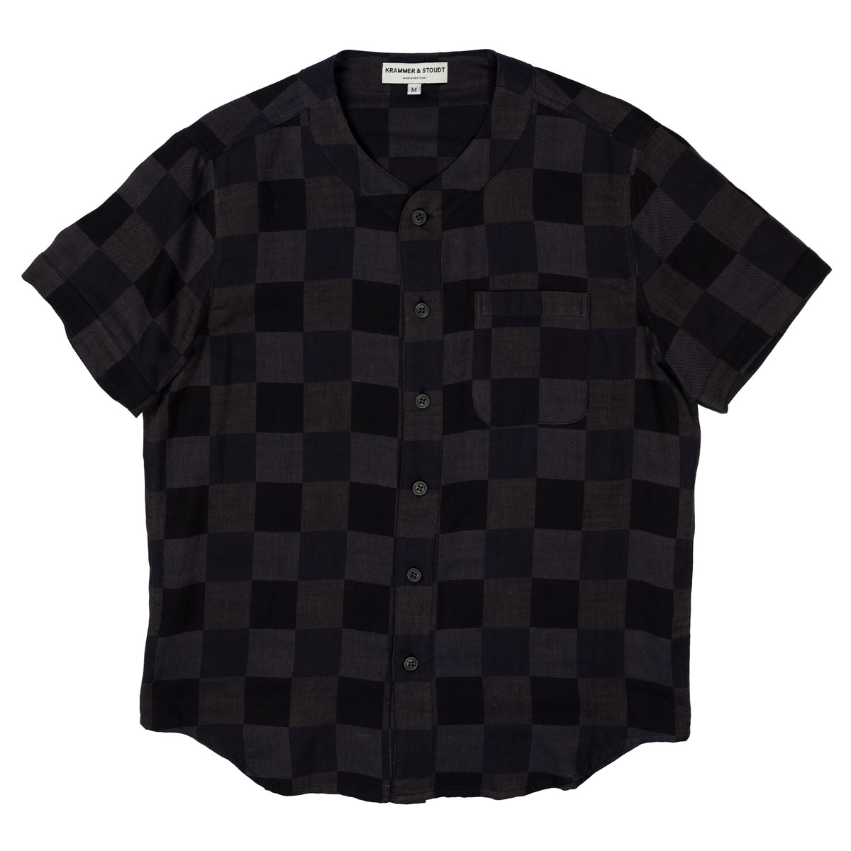 Krammer and Stoudt Baseball Shirt Black Navy Checkers