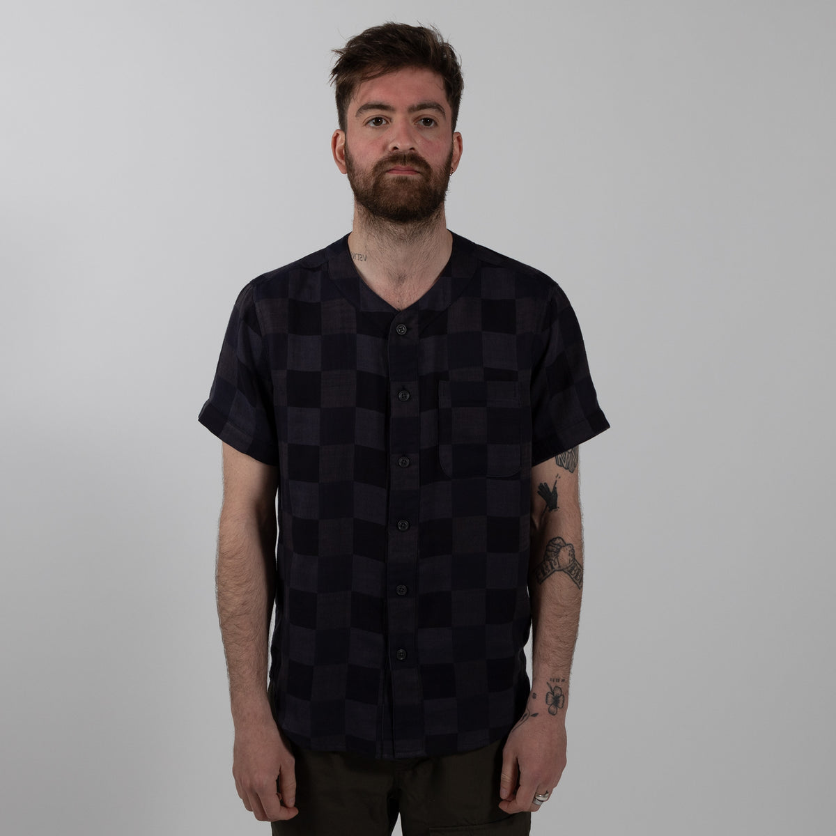 Krammer and Stoudt Baseball Shirt Black Navy Checkers Front Style