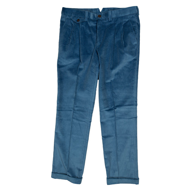 La Paz Palmas Pleaded Corduroy Trousers in Blue
