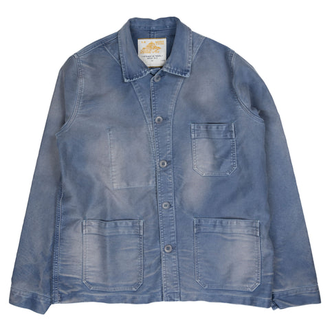le mont saint michel vintage washed work jacket in blue