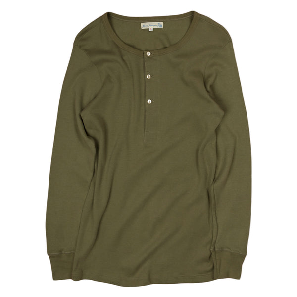 merz b schwanen ribbed Ls henley in army